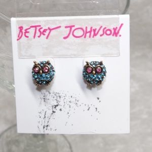 Betsey Johnson Owl Rhinestone Encrusted